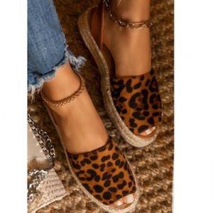 Shoes - Peep Toe Slingback Espadrilles in Leopard